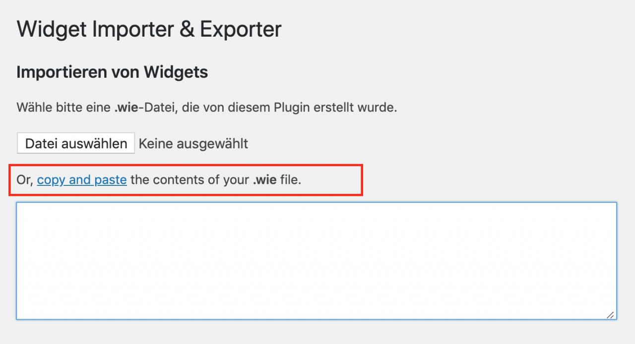 Bildschirmfoto, Widget Importer & Exporter