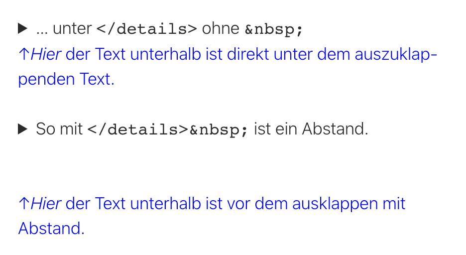 'details' Textabstand unterhalb