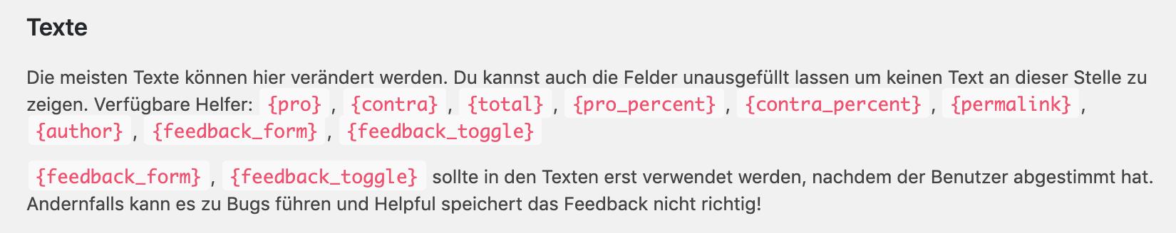 Helpful. Menü Texte, Helpful-Tags