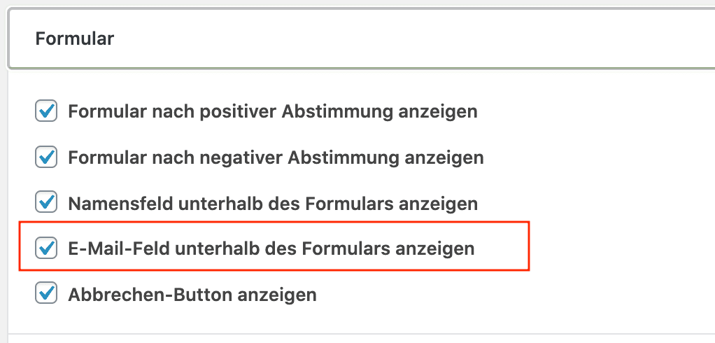 Helpful. Menü Feedback, Zeile Formular