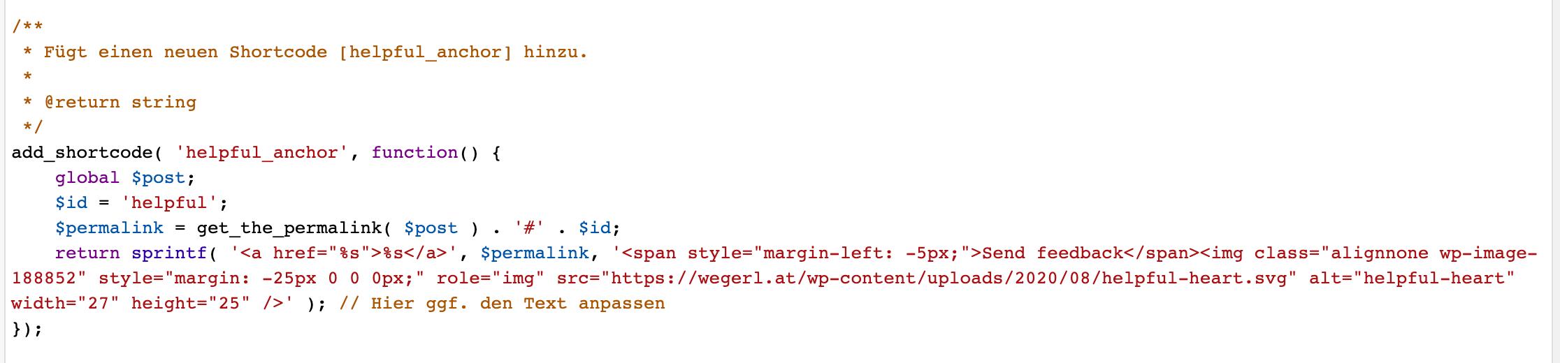 Helpful im Theme der functions.php