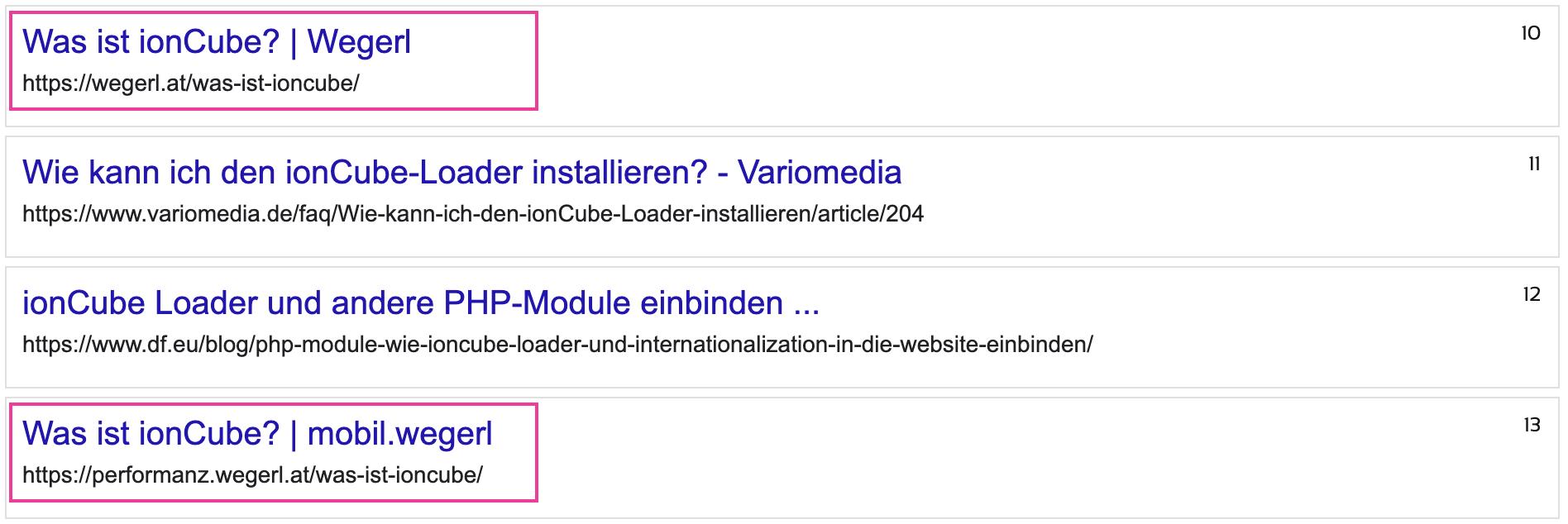 Suchergebnisse Hauptseite vs. mobil